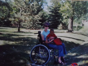 My nephew & me in my wheelchair back near home another day