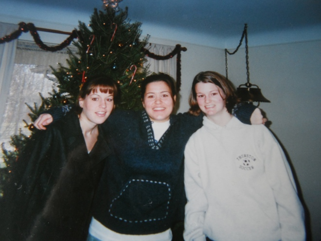 My Two Spectacular Older Sisters with me on the right with hair before my hair disappeared, happily, forever