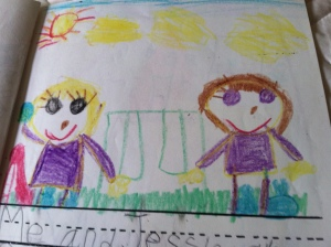 My kindergarten drawing of Jess & me . . . although, sadly, if I drew us today you wouldn't notice mmuch difference in my skills with a crayon