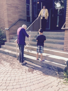 My nephew, 6, sticking by my side as I very carefully walk up stairs to church the day before Memorial Day.
