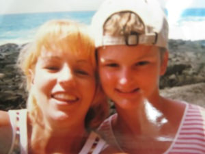 With Carrie in Hawaii in '98 when I was 14 (& my short hair was growing back after my 1st 3 rounds of chemotherapy)