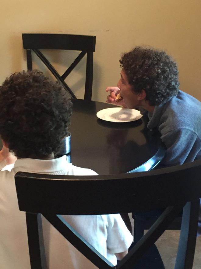Jordan & Tyler eating scones 9-14-17